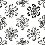Floral doodling seamless pattern in tattoo style. With flowers, vector illustration Royalty Free Stock Photography