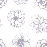 Floral doodling seamless pattern in tattoo style. With flowers, vector illustration Royalty Free Stock Photo