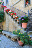 Floral Doorway, Civita, Lazio, Italy Stock Photos