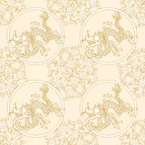 Floral and dragon seamless pattern Royalty Free Stock Images