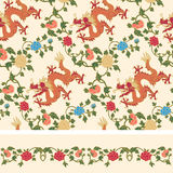 Floral and dragon seamless pattern Stock Images