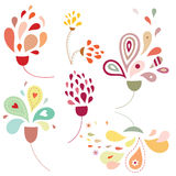Floral Drops. Floral elements with stylized shapes and delicate colors
