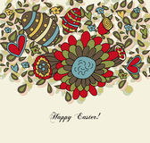 Floral Easter Card with Eggs stock illustration