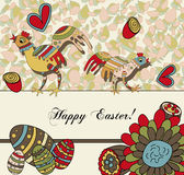 Floral Easter Card with Eggs Stock Photos