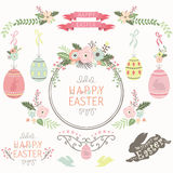 Floral Easter Design Elements Royalty Free Stock Photos