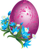 Floral easter egg. Purple easter egg decorated with flowers royalty free illustration