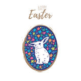 Floral easter egg with bunny. Vector. Happy easter cards illustration with blue easter egg and white bunny vector illustration