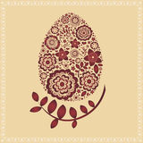 Floral Easter egg card Royalty Free Stock Images