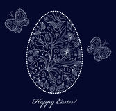 Floral  easter egg on dark background Royalty Free Stock Images