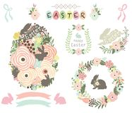 Floral Easter Egg Elements. A vector illustration of Floral Easter Egg Elements. Perfect for Easter celebration, greeting card, packaging and many more royalty free illustration