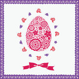 Floral  Easter egg greeting card Stock Photo