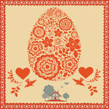 Floral Easter egg greeting post card Royalty Free Stock Photos