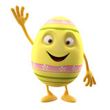 Floral easter egg on white background. Happy Easter, 3D easter character, cheerful cartoon, amusing egg isolated on white background Stock Images
