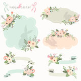Floral Easter Frames and Banners Set. A vector illustration of Floral Easter Frames and Banners Set perfect for easter invitations, cards and more Stock Photos