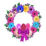 Floral Easter Wreath: Daisies, Eggs & Butterflies Royalty Free Stock Photos