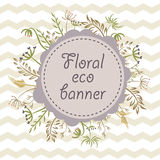 Floral eco banner with chevrons. Stock Photography