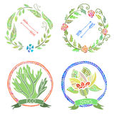 Floral Eco Icons. Vector Hand Drawn Illustration Royalty Free Stock Photos