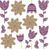 Floral elegance seamless pattern and seamless pattern in swatch menu,  Stock Photos