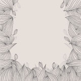 Floral elegant hand drawn framing with curls on white background Stock Photos