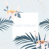 Floral elegant invite card design: tropical palm leaves and paradise pink flowers. Can be used as invitation card for wedding, birthday and other holiday and vector illustration