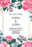 Floral elegant invite card gold frame design: garden flower pink dog roses, tender greenery. Can be used as invitation card for wedding, birthday and other royalty free illustration