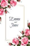 Floral elegant invite card gold frame design: vintage style pink roses. vector illustration
