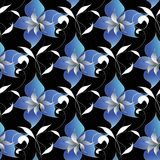 Floral elegant seamless pattern. Vector black background wallpap. Er illustration with vintage hand drawn blue flowers, swirl white leaves and modern ornaments Stock Photo