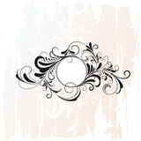 Floral element. Circle with floral elements on grunge background, vector illustration Stock Image