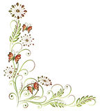 Floral element. Colorful floral element with leaves and butterflies Royalty Free Stock Photos