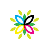Floral element. Minimalistic illustration of a flower that can be used as logo symbol or as isolated design element Stock Photos
