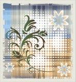 Floral element over grange background Royalty Free Stock Images