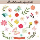 Floral elements clip art set Royalty Free Stock Photos