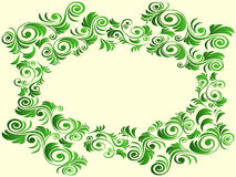 Floral elements in green hues over light yellow Stock Photos