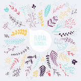 Floral elements. Hand drawn design elements. Collection of sprin Royalty Free Stock Photography