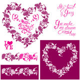 Floral elements: heart frame, seamless border with flowers, call Royalty Free Stock Images