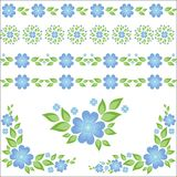 Floral elements and seamless strips Stock Images