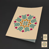 Floral Elements. Textbook, Booklet or Notebook Mockup. Royalty Free Stock Image
