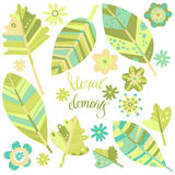 Floral elements. Vector illustration,  objects for your design on white background. Green variant. Stock Image