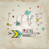 Floral elements of vintage. Phrase Love is you in Stock Image