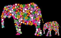 Floral elephants Royalty Free Stock Photography