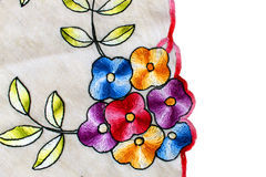 Floral embroidery. Beautiful floral embroidery on linen Stock Images