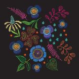Floral embroidery on a black background for prints. Beautiful floral embroidery on a black background for prints Stock Image