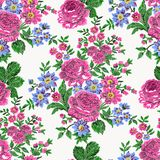 Floral embroidery print. Seamless embroidered floral pattern. Luxurious vintage roses, fuchsia pink on ecru background Stock Photography