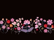 Floral embroidery. Seamless border with beautiful pink flowers on black background. Fashion design. Vector illustration.  vector illustration