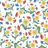 Floral Embroidery seamless pattern with colorful flowers for you Royalty Free Stock Images