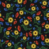 Floral Embroidery seamless pattern with colorful flowers for you Stock Image