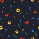 Floral Embroidery seamless pattern with isolated colorful flower Royalty Free Stock Photography