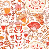 Floral endless pattern in pink. Ornate floral seamless texture, Stock Images