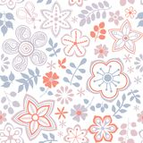 Floral endless pattern in pink. Ornate floral seamless texture, Royalty Free Stock Image