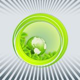 Floral environmental vector frame with globe Stock Image
